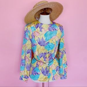 Vtg 80s Garden Floral Pastel Colored Blouse S M